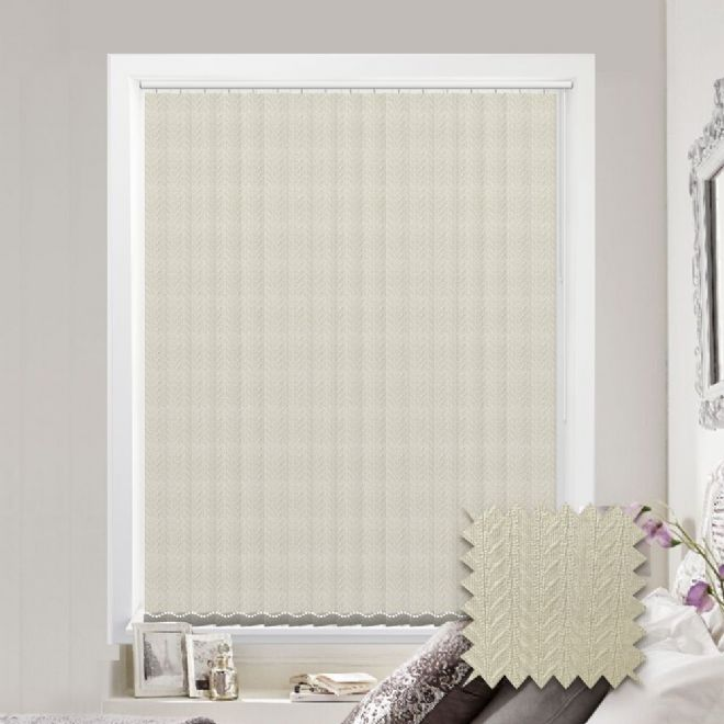 Made to measure vertical blind in Kineton Cream Fabric - Just Blinds
